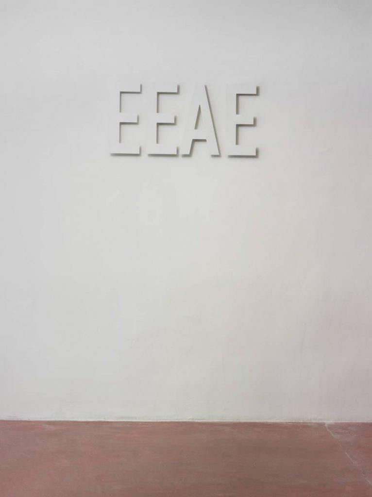 Miroslaw Balka, EEAE, 2015, steel, 60 x 124 x 4 cm