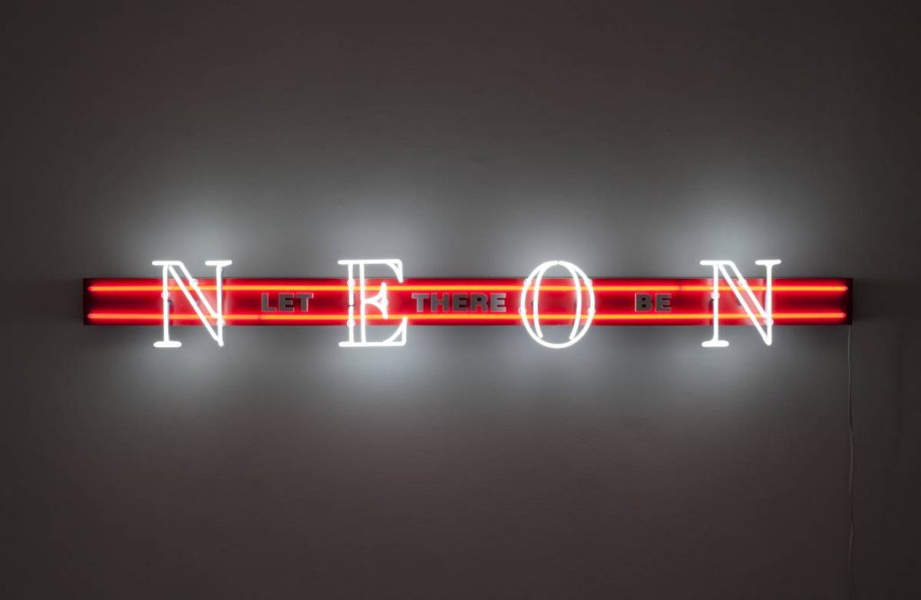 Jonathan Monk, Pre-Birth Communication (New York), 2011, neon light installation, 20 x 183.5 x 14 cm