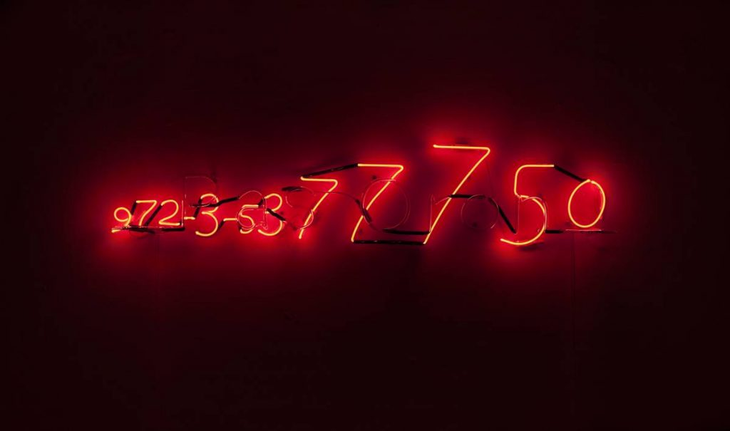 Jonathan Monk, Pre-Birth Communication (Tel Aviv), 2011, neon light installation, 28.5 x 140 x 8 cm