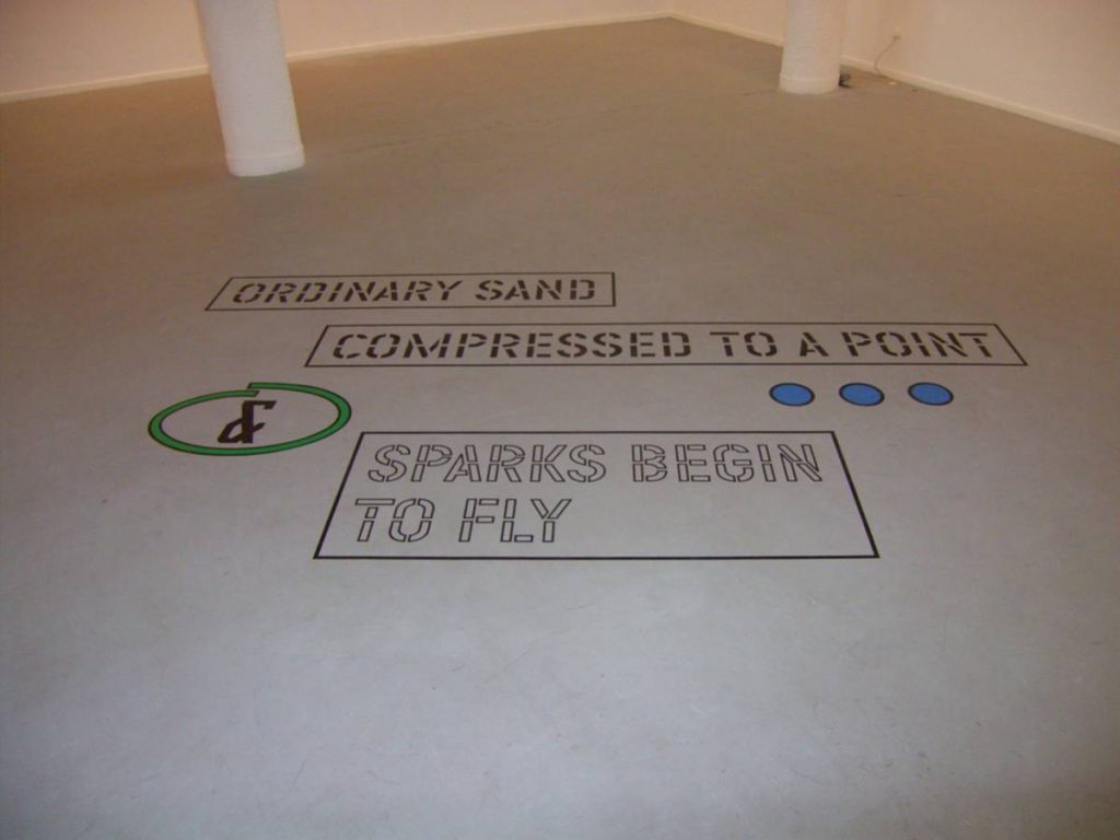 Lawrence Weiner, Ordinary Sand Compressed to a Point, 2008, variable measures