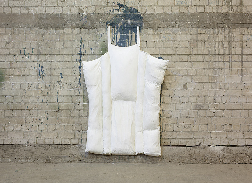 Etti Abergel, Raft, 2000, row fabric, synthetic down and gesso