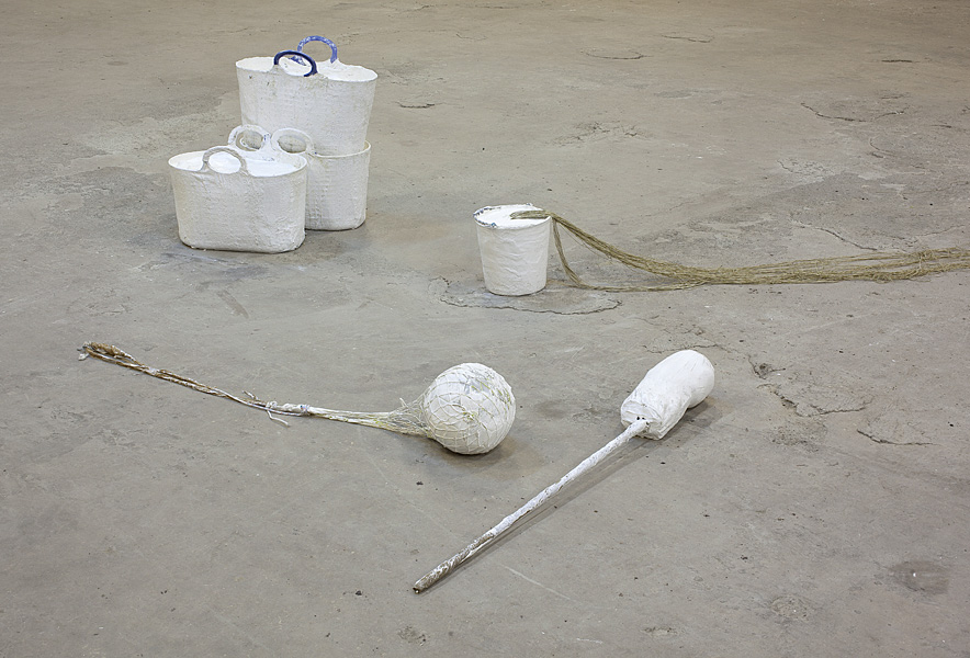 Etti Abergel, Untitled, 2005, pail, plaster cast and brown rope