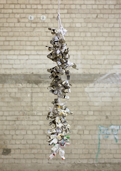 Etti Abergel, Untitled, 2007, metal whistles, tricot