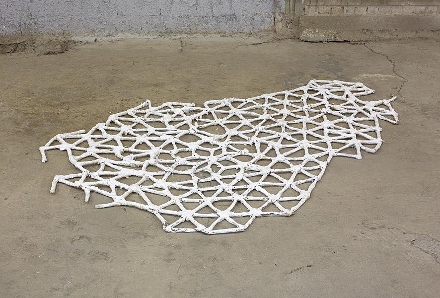 Etti Abergel, Untitled, 2010, lattice, masking tape, sandpaper, plaster bandages, gesso and acrylic