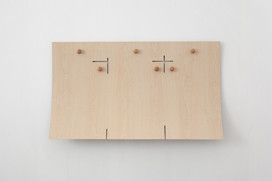 Barak Ravitz, Untitled, 2011, formica, wooden doorknobs, 71 x 121 cm, unique
