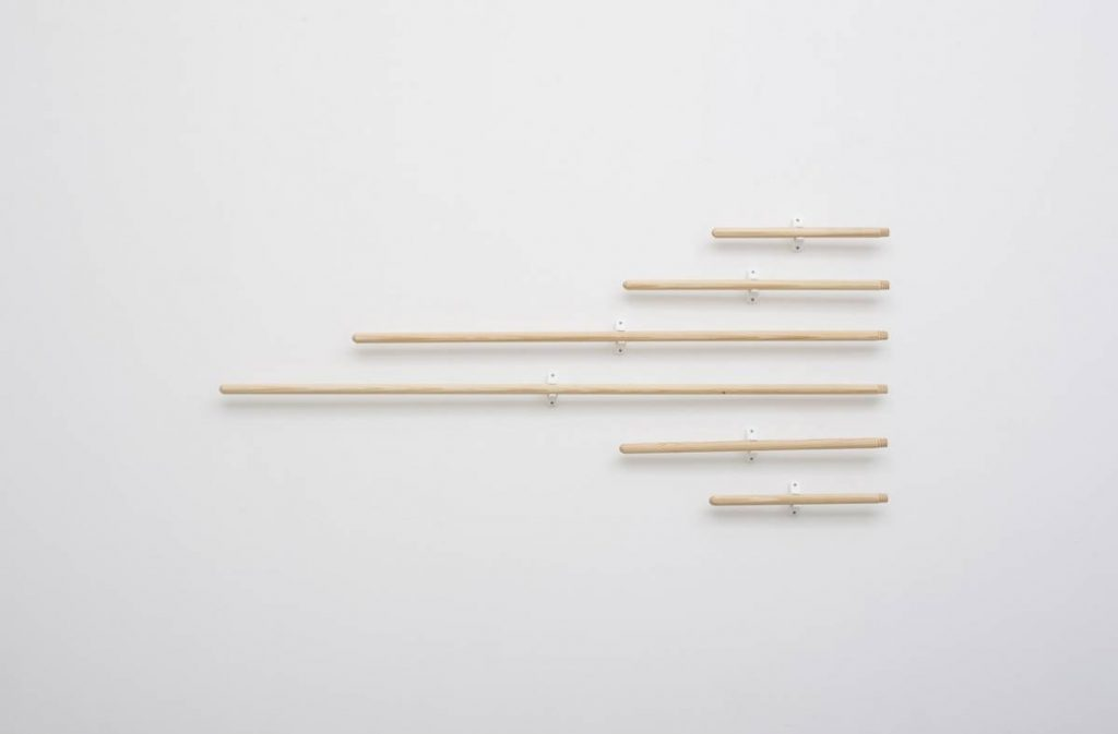 Barak Ravitz, Untitled zebra, 2008, broom sticks, doorstops, 60x150cm