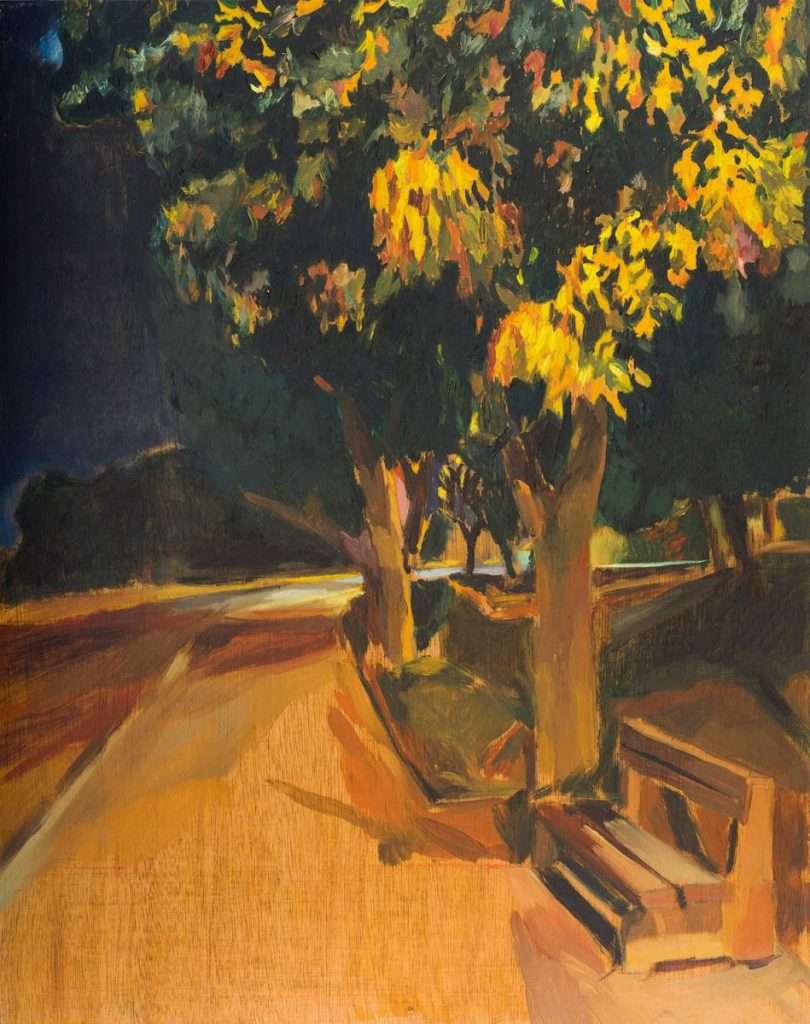 Vered Nachmani, A bench near the memorial at night 3, 2014, oil on wood, 50x40 cm