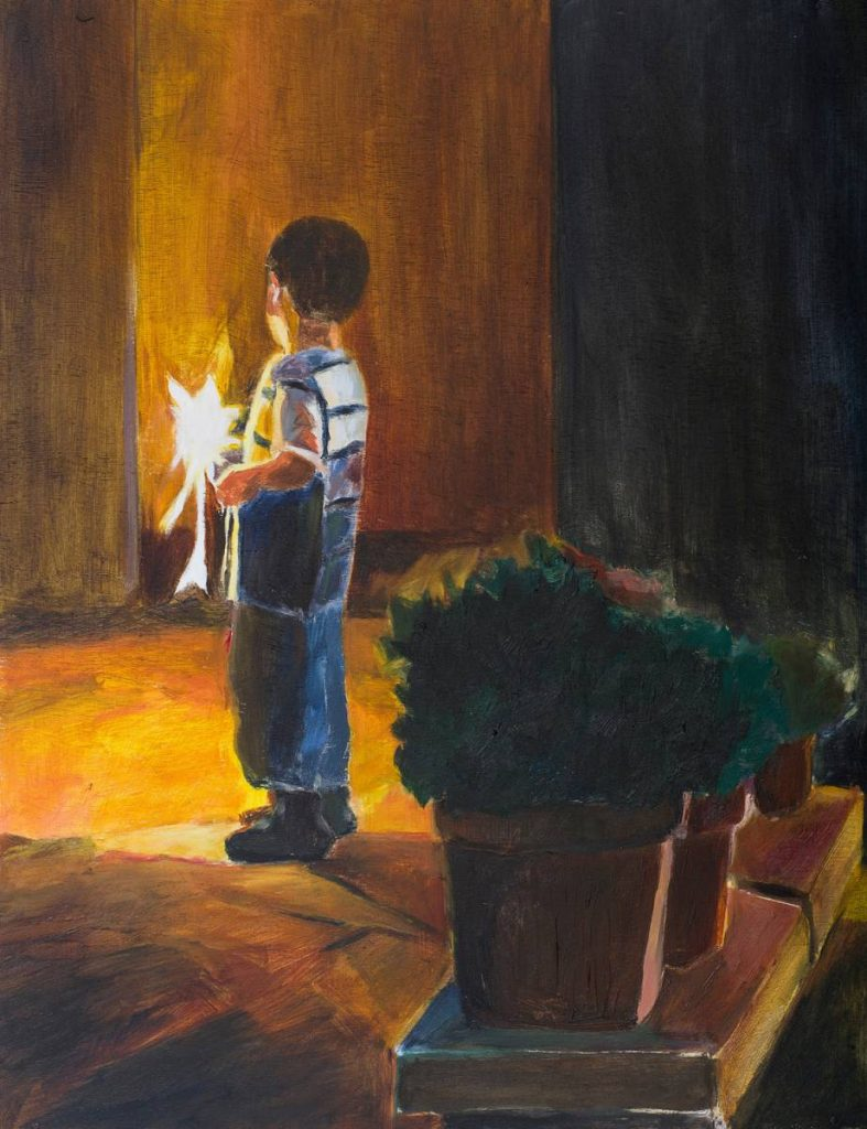 Vered Nachmani, Fireworks 10, 2013, oil on wood, 43.5x33.5 cm