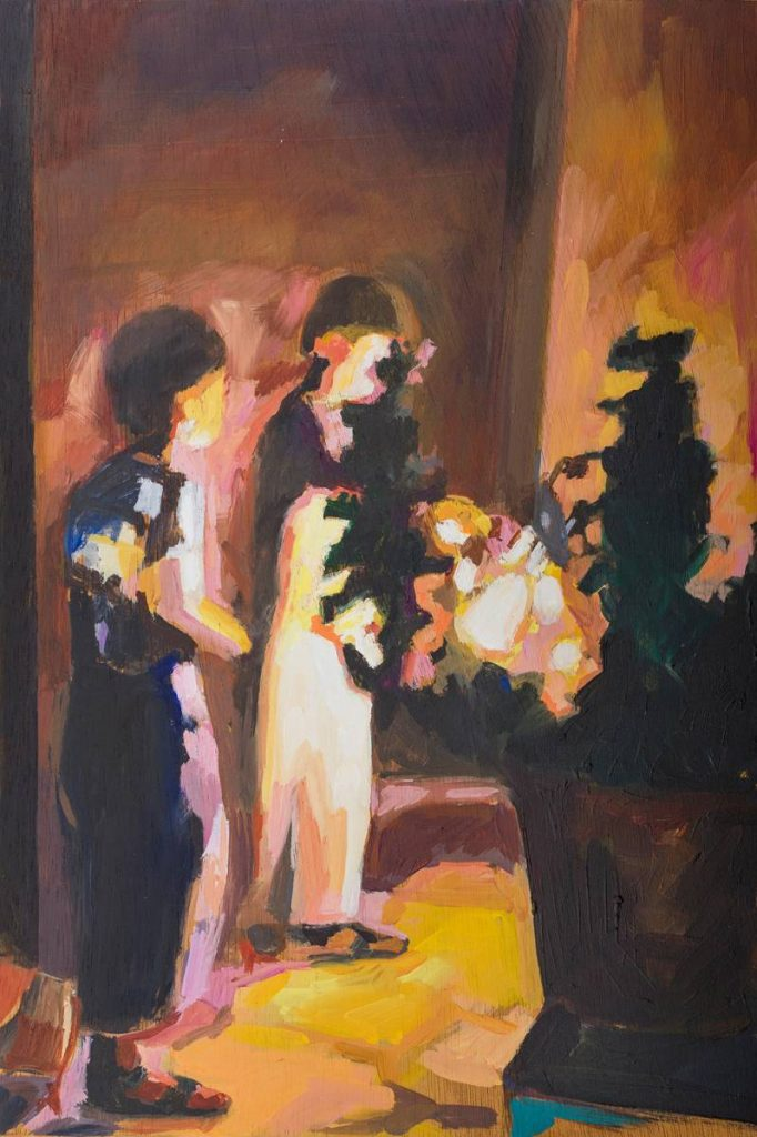 Vered Nachmani, Fireworks 5, 2013, oil on wood, 30x20 cm
