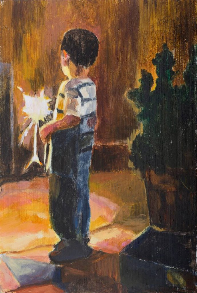 Vered Nachmani, Fireworks 7, 2013, oil on wood, 30x20 cm