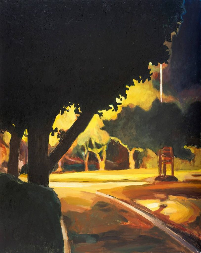 Vered Nachmani, The Way to the Memorial, 2014, oil on wood, 50x40 cm