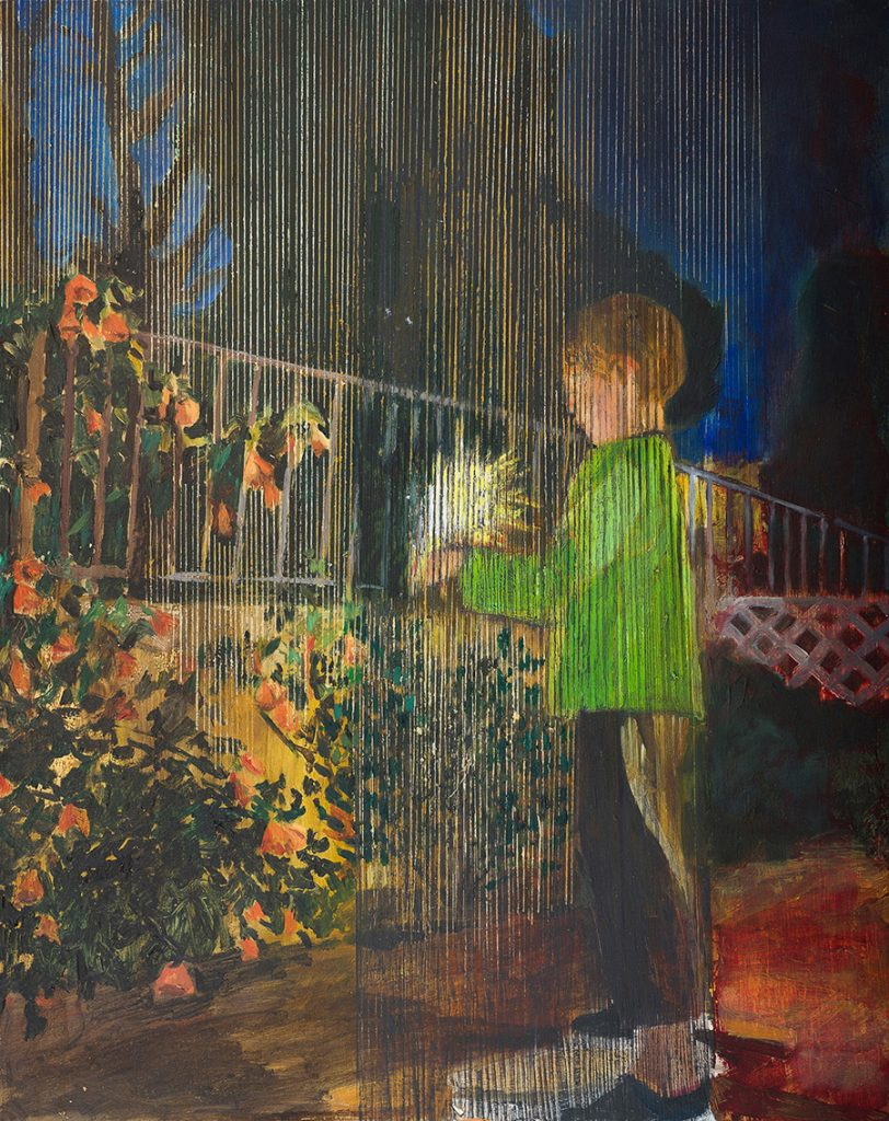Vered Nachmani, Yonathan with fireworks 3, 2014, oil on wood, 50x40 cm