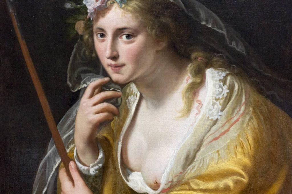 Yossi Breger, Girl (detail from A Shepherdess, Paulus Moreelse, 1630), Stedelijk Museum, Amsterdam, 2013, 32.9 × 48.3 cm