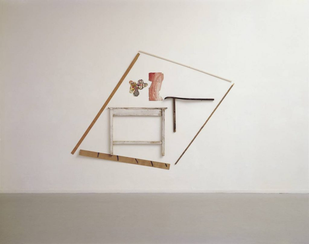 Yudith Levin, A Room with a Table, 1979, acrylic on plywood, laths, reproduction, 277 x 240 cm