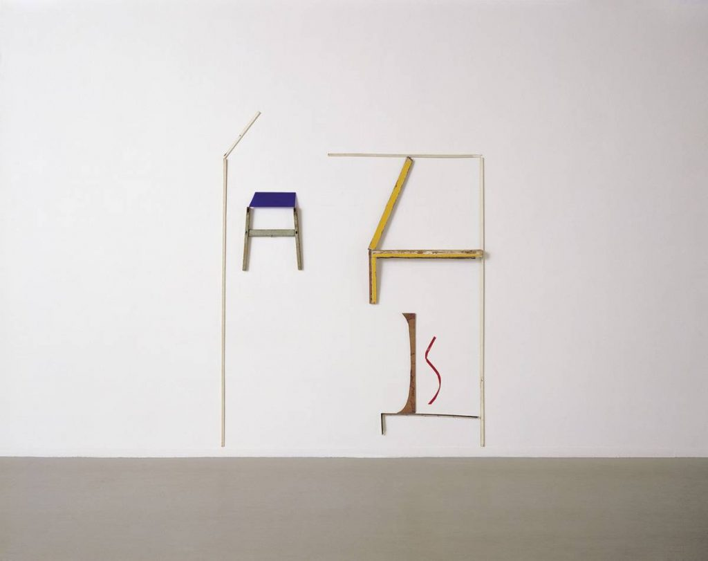 Yudith Levin, Mondrian's Room, 1979, laths, plastic insulating tape, 240 x 180 cm