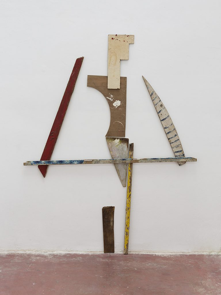 Yudith Levin, Weight Lifters, 1981, acrylic on plywood, laths, 243 x 193 x 6 cm