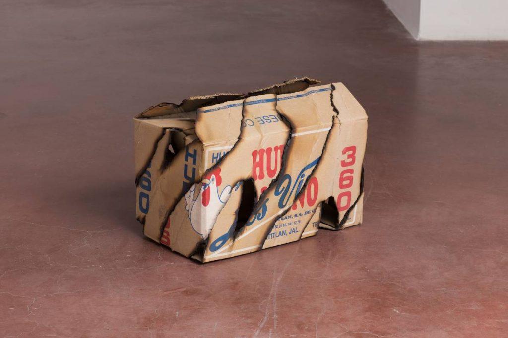 Ariel Schlesinger, Untitled (Caja de huevos), 2016, burnt boxes, 41 x 60 x 33 cm