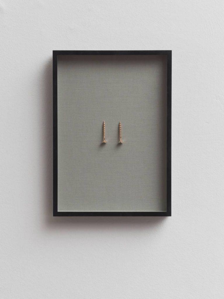 Ariel Schlesinger, Untitled (Screw, unscrew), 2016, Bronze, linen, frame, 35.5 x 25 x 4 cm