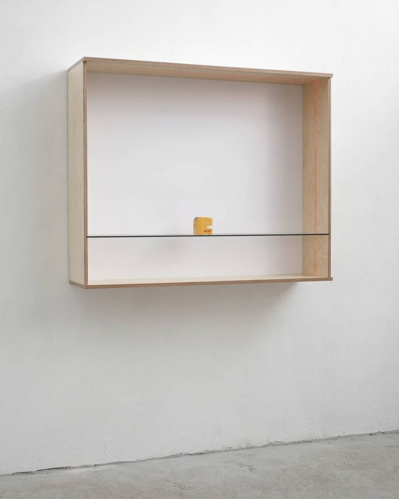 Haim Steinbach, Untitled (PLS 180), 2011, wood, glass, plastic laminate wall box, object, 82.6 x 102.9 x 52.1 cm
