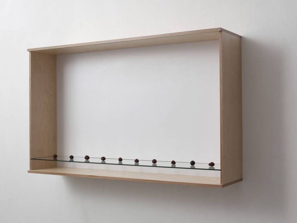 Haim Steinbach, Untitled (avocado pits), 2011, wood, glass, plastic laminate wall box, avocado pits, 82.6 x 102.9 x 52.1 cm