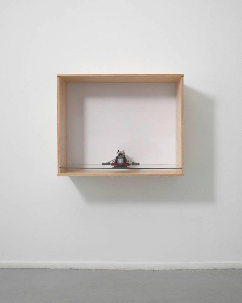 Haim Steinbach, Slave 1, 2011, wood, glass, plastic laminate wall box, Lego 'slave 1' spaceship, 82.6 x 102.9 x 52.1 cm