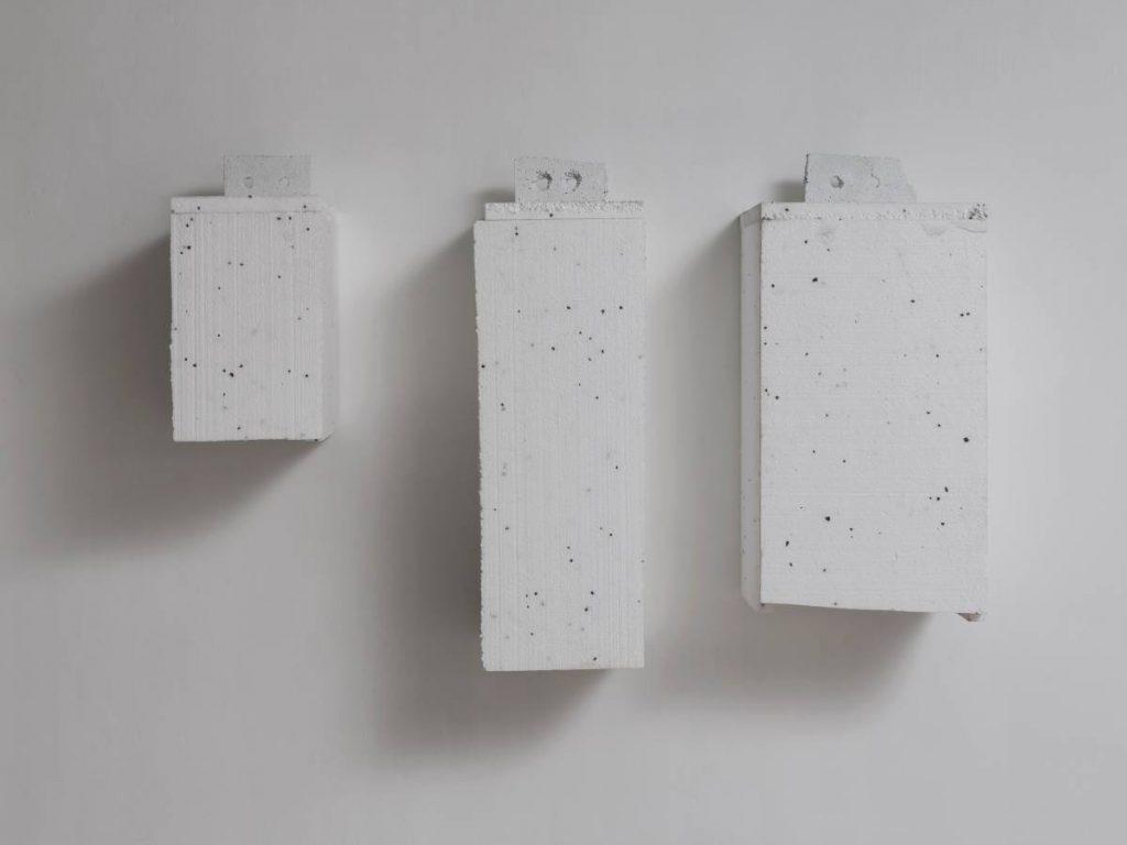 Jonathan Monk, Heavy Eyes IV-V, 2011, lead, polystyrene, variable dimensions, unique
