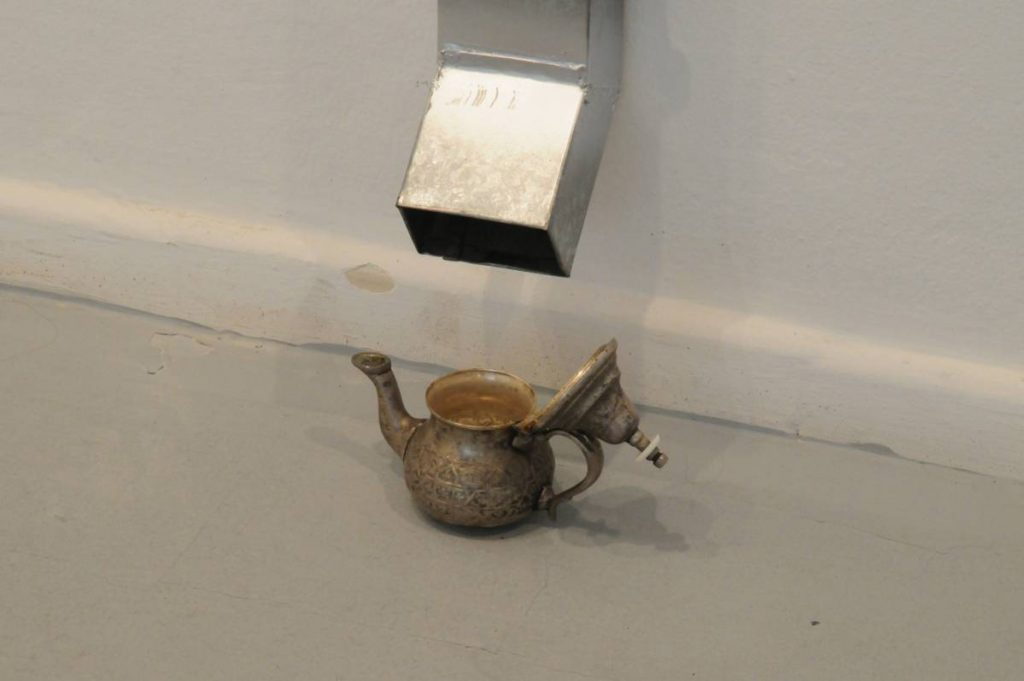Latifa Echakhch, Saïd's Tea (detail), 2010, gutter, antique tea-pot