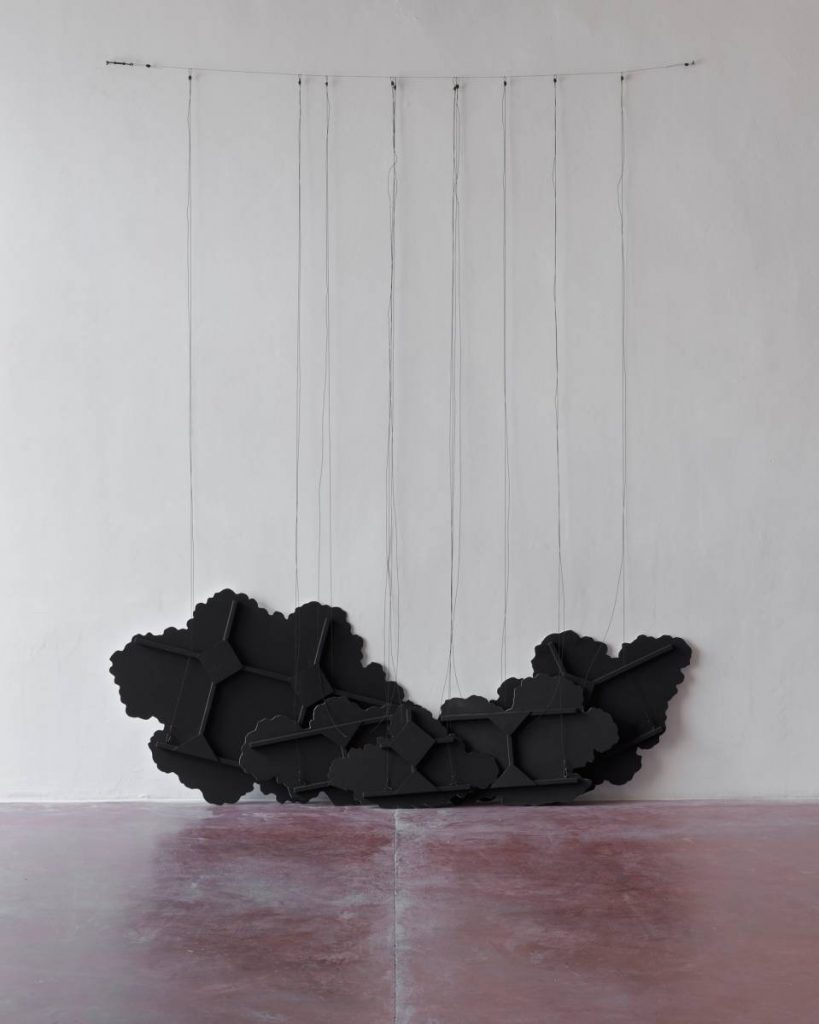 Latifa Echakhch, Untitled (Black Clouds), 2015, wood, fabric, fireproof acrylic paint, steel wire, 97 x 205 cm
