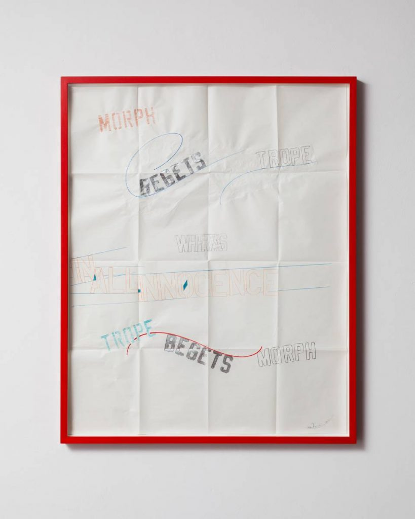 Lawrence Weiner, In all Innocence, 2013, Drawing, 85x100x4 cm, Unique