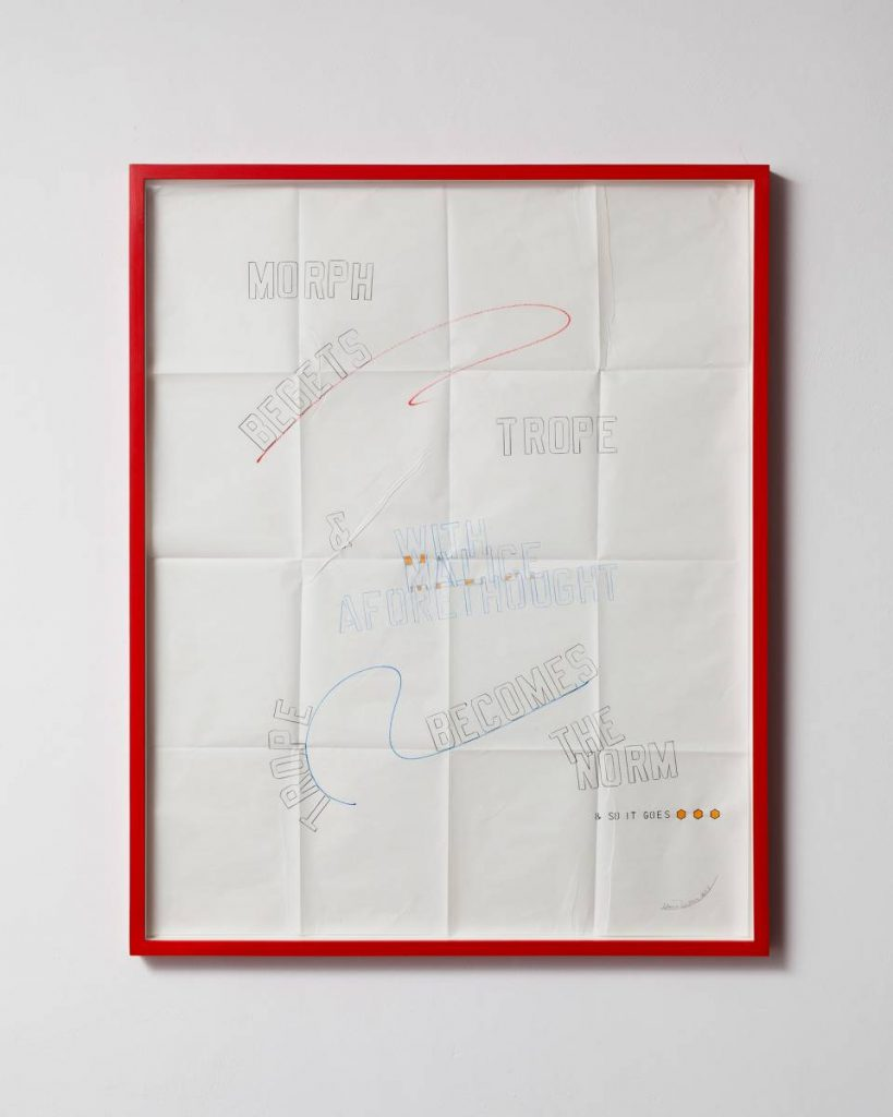 Lawrence Weiner, & With Malice Aforethought, 2013, Drawing, 85 x 100x 4 cm, Unique