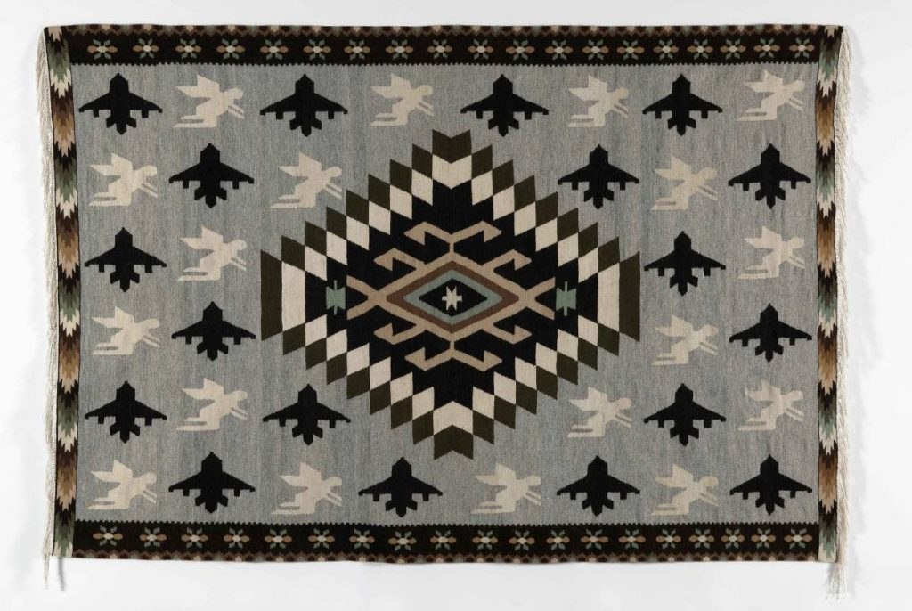 Mircea Cantor, Airplanes and Angels, 2008, hand woven wool carpet 195 x 280 x 1 cm, unique