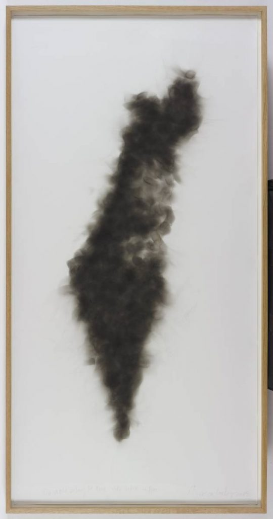 Mircea Cantor, The world belongs to those who set it on fire, 2015, candle smoke on paper, 153.5x80x5 cm