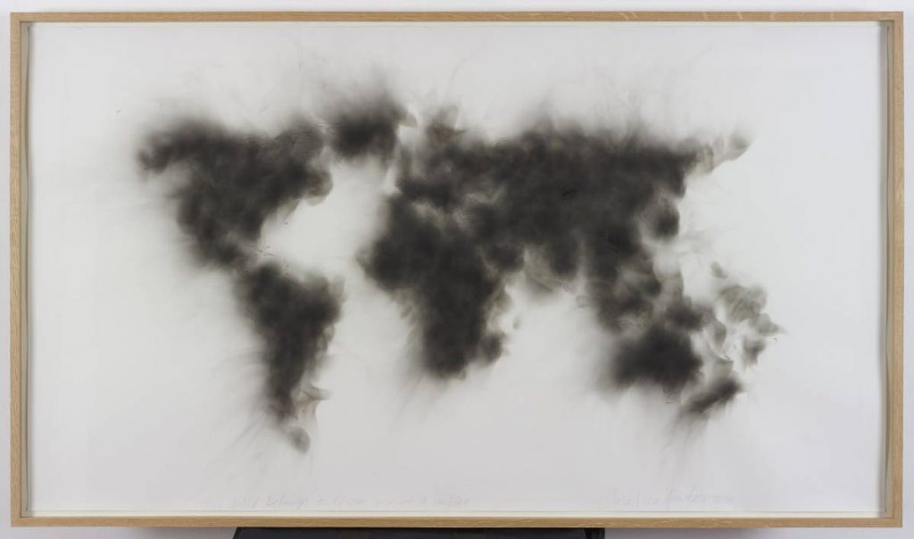 Mircea Cantor, The world belongs to those who set it on fire, 2015, candle smoke on paper, 88.5 x 154 x 5 cm