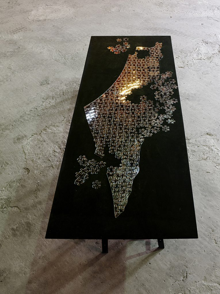 Mircea Cantor, One Piece, the Same 2010, table, tripod, mirror and plexiglas, 300 x 100 cm, edition of 3 +1A/P