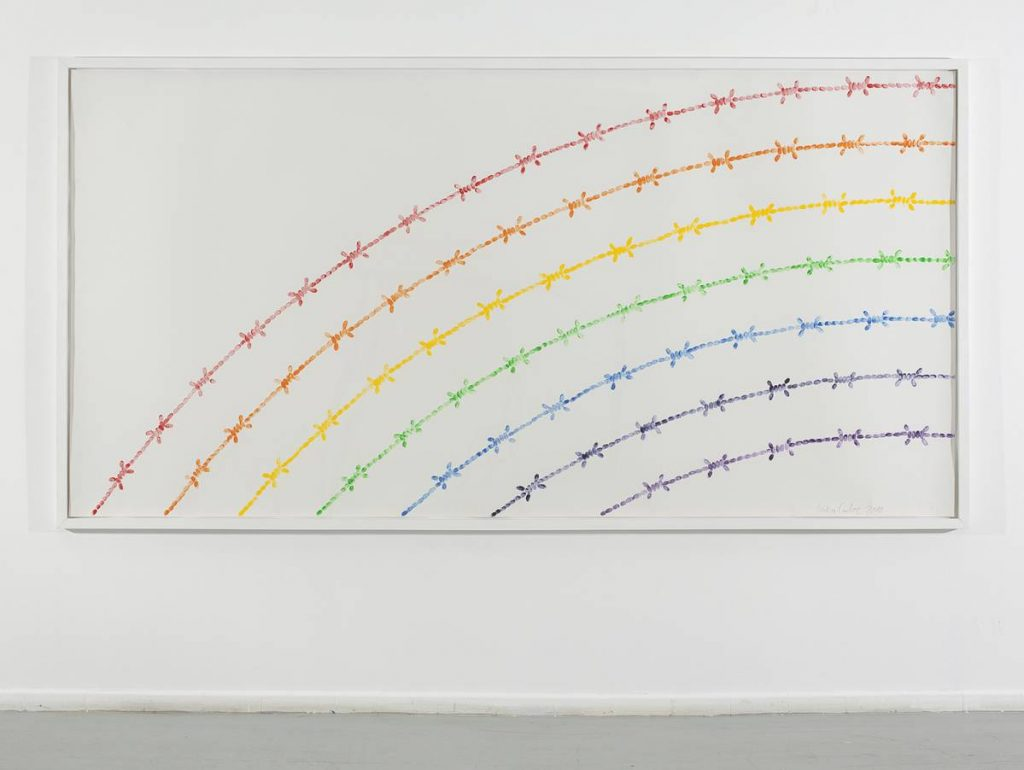 Mircea Cantor, Rainbow, 2010, artist's fingerprints, etching ink on paper, 150 x 300 cm, Unique