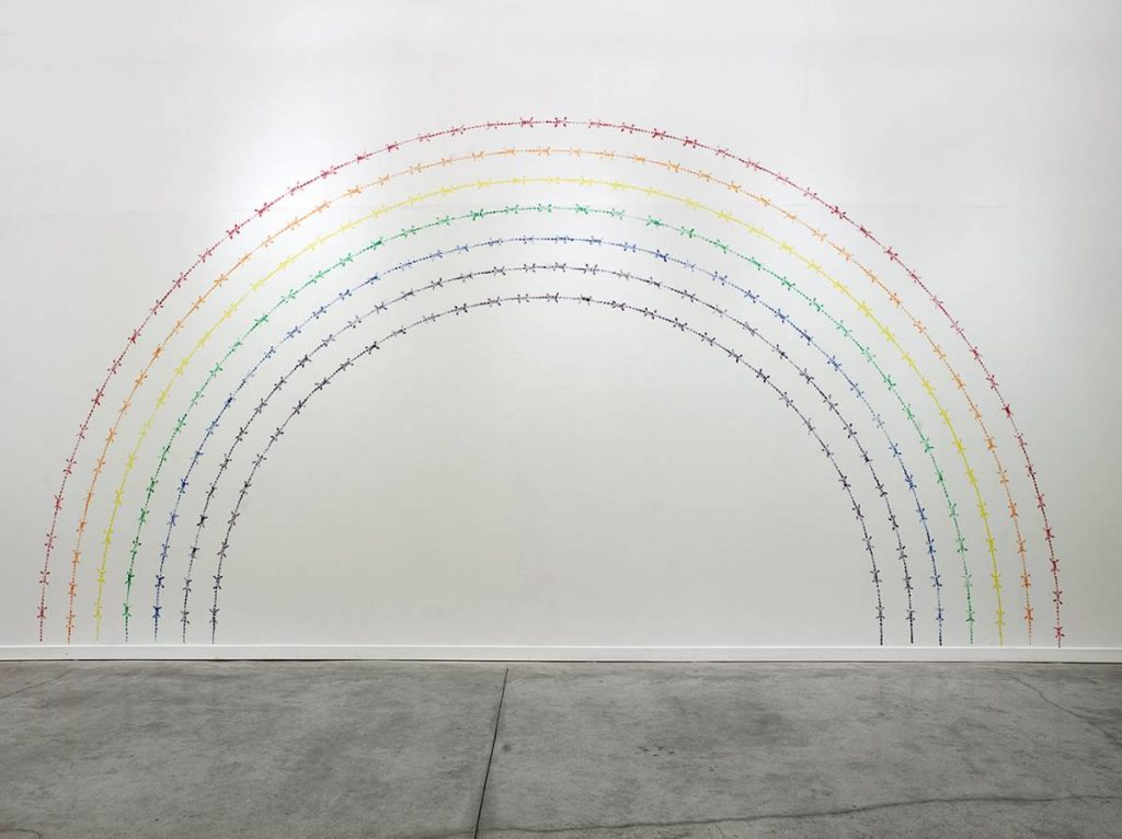 Mircea Cantor, Rainbow, 2010, installation artist's fingerprints, etching ink, 350 x 700 cm, edition of 3