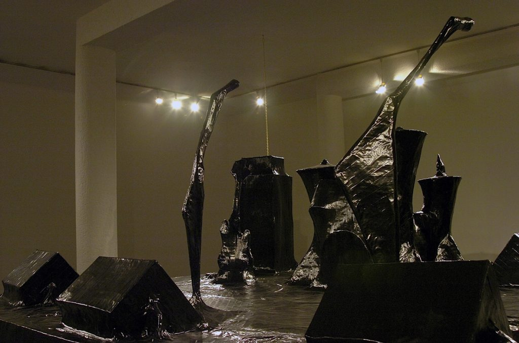 Naama Tsabar, Encore, 2006, installation made of paper black gaffer tape iron frame, 3x3.5x2.1, detail