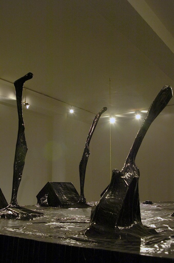 Naama Tsabar, Encore (detail), 2006, installation made of paper black gaffer tape iron frame, 3 x 3.5 x 2.1 m
