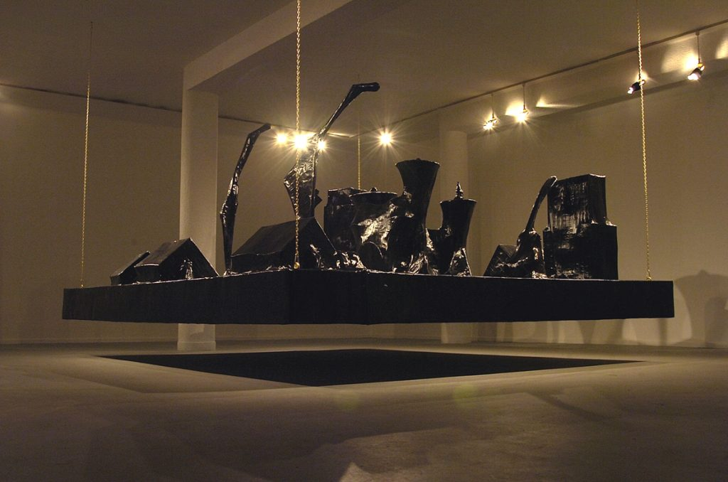 Naama Tsabar, Encore, 2006, installation made of paper black gaffer tape iron frame, 3 x 3.5 x 2.1 m