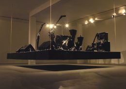 Naama Tsabar, Encore, 2006, installation made of paper black gaffer tape iron frame, 3x3.5x2.1