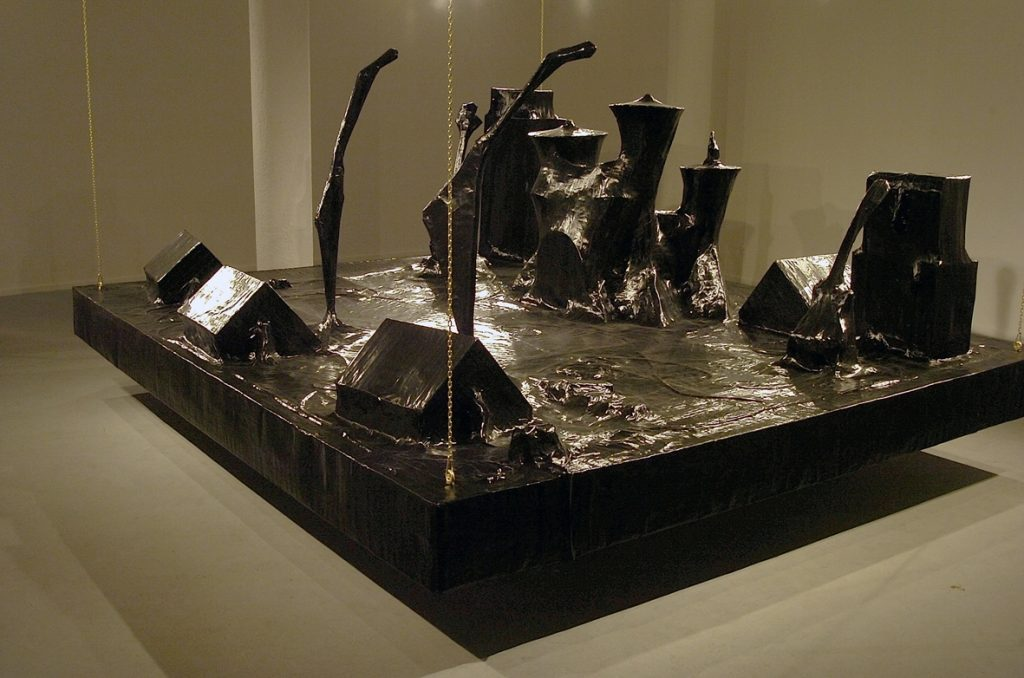 Naama Tsabar, Encore, 2006, installation made of paper black gaffer tape iron frame, 360x270x210cm