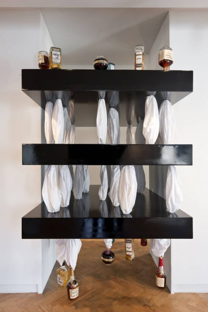 Naama Tsabar, Sweat, 2011, Bed Sheet, Liquor bottles, variable dimensions