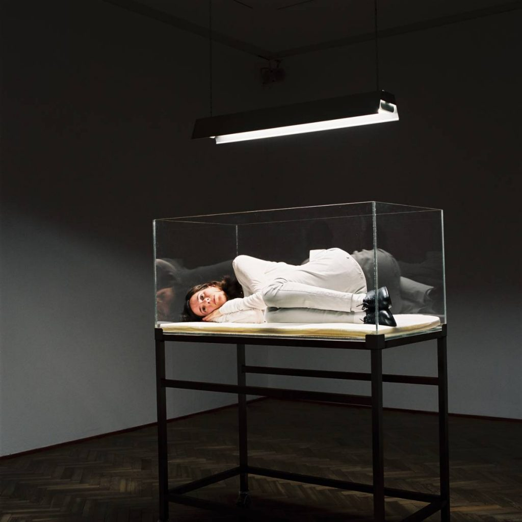 Nelly Agassi, Innermost, 2008, white mattress, perspex and stainless steel incubator and a fluorescent light installation, unique