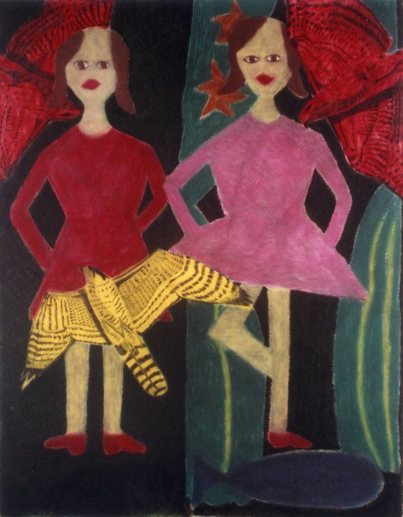 Orna Brombeg, Untitled, Girls, pastel on paper