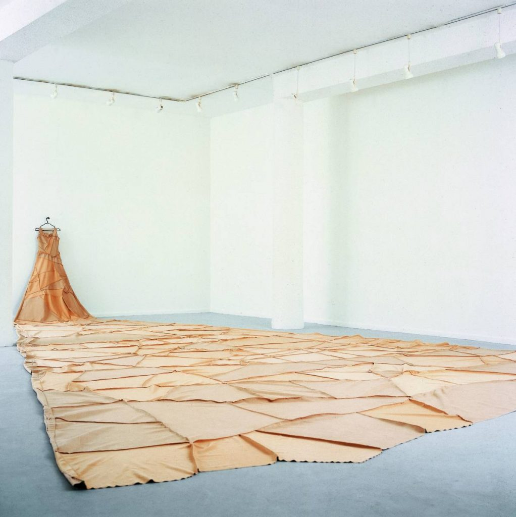 Nelly Agassi, Remains, 2002, coat hanger, satin installation, unique