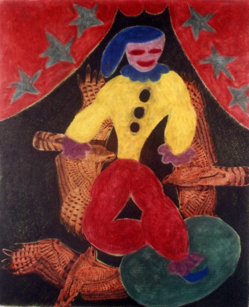Orna Brombeg, Untitled, clowns, pastel in paper