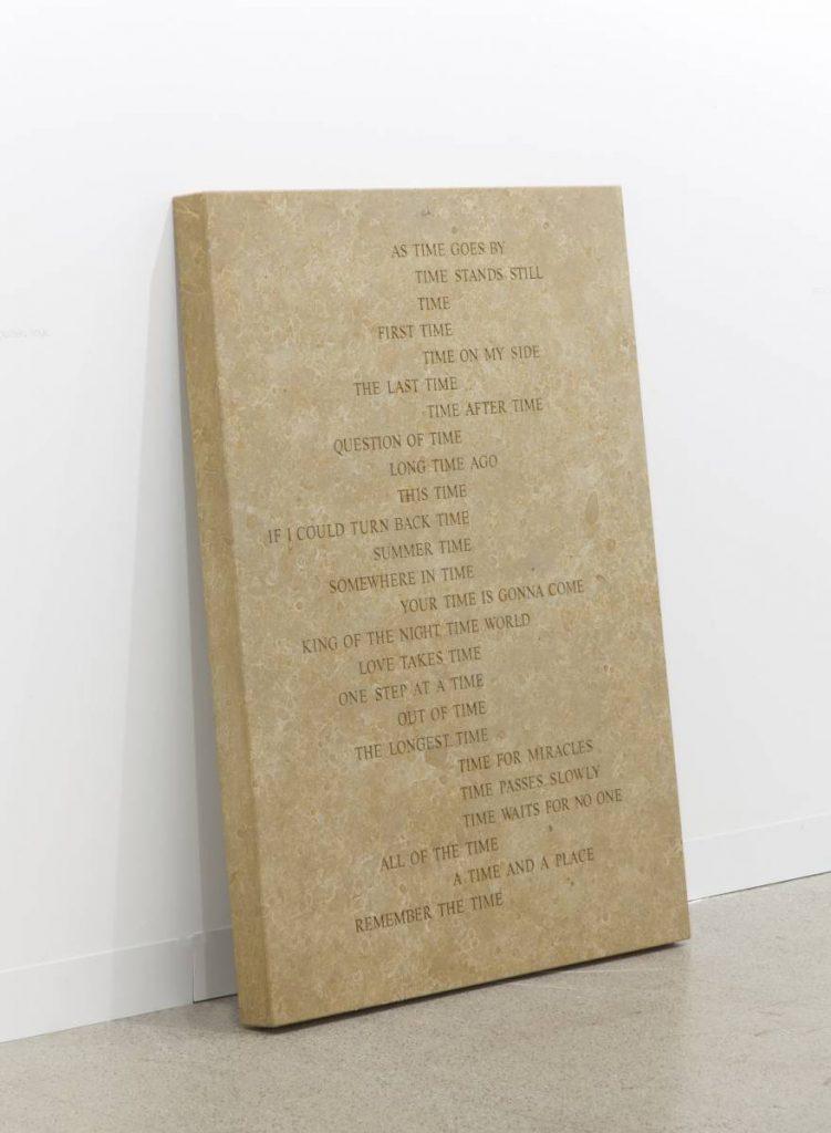 Jonathan Monk, Time Stone, 2014, engraved sandstone, 120 x 90 x 7 cm, unique