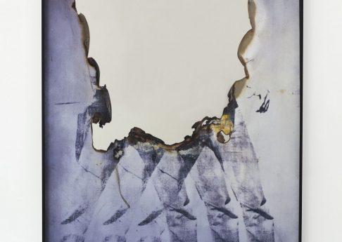 Douglas Gordon, Self Portrait of You + Me (Elv), 2015,  Burned print, smoke, mirror, 168,5x123x5cm