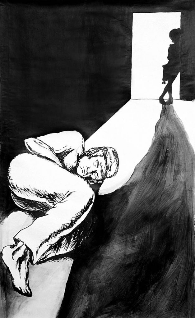 Karen Russo, John Hinckley Fantasizes about Jody Foster, 2003, Ink on paper, 95 x 150 cm