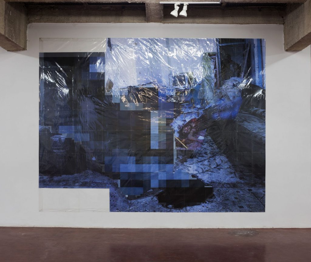 Thomas Hirschhorn, Pixel-Collage nº30, 2016, Prints, tape, transparent sheet, 330x431cm, unique